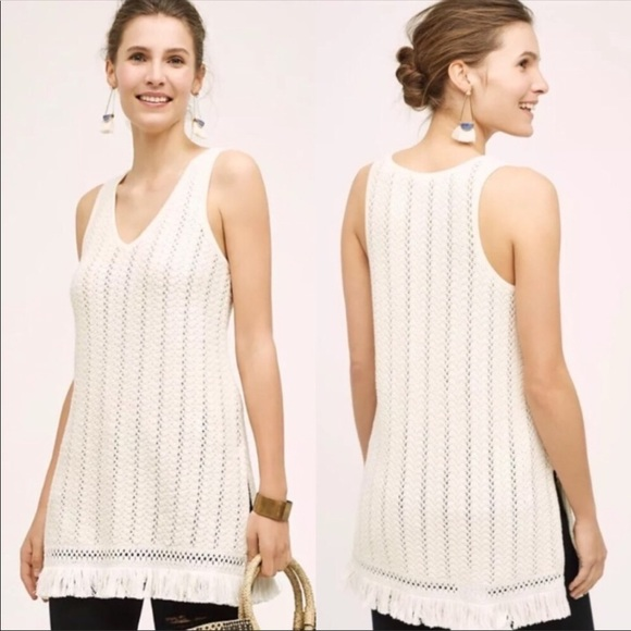 Anthropologie Tops Knitted Knotted Boho Crochet Knit Fringe Tunic